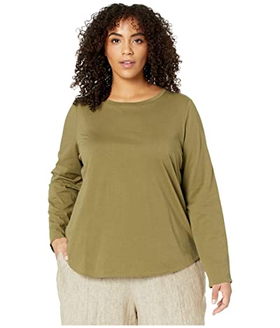 Eileen Fisher Plus Size Organic Cotton Jersey Crew Neck Tee (Olive) Women
