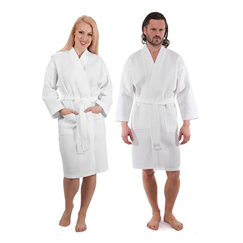 158595ff98 Waffle Weave Lightweight Spa Bathrobe - Premium Hotel Quality Robe for Men  and Women - Made