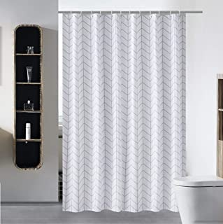 S·Lattye Luxury Shower Curtain Liner Water Repellent Fabric Washable Cloth (Hotel Quality, Friendly, Heavy Weight Hem) with White Plastic Hooks - 72