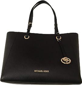 MICHAEL Michael Kors Womens Walsh Leather Tote Handbag Black Medium