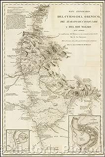Historic Map - Mapa Itinerario Del Curso Del Orinoco, Del Atabapo, De Casiquiare/Map of the Orinoco River and seveal major Tributaries, 1826 - Vintage Wall Art 44in x 66in