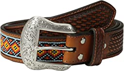 Embossed Tab Diamond Beaded Inlay Belt