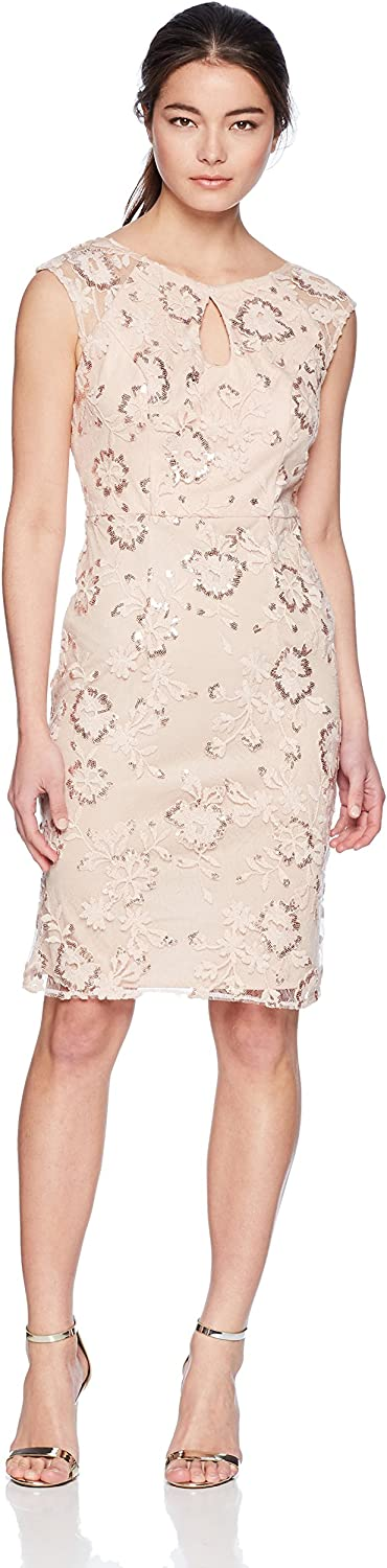 Alex Evenings Womens Petite Embroidered Cocktail Dress with Keyhole Cutout Special Occasion Dress