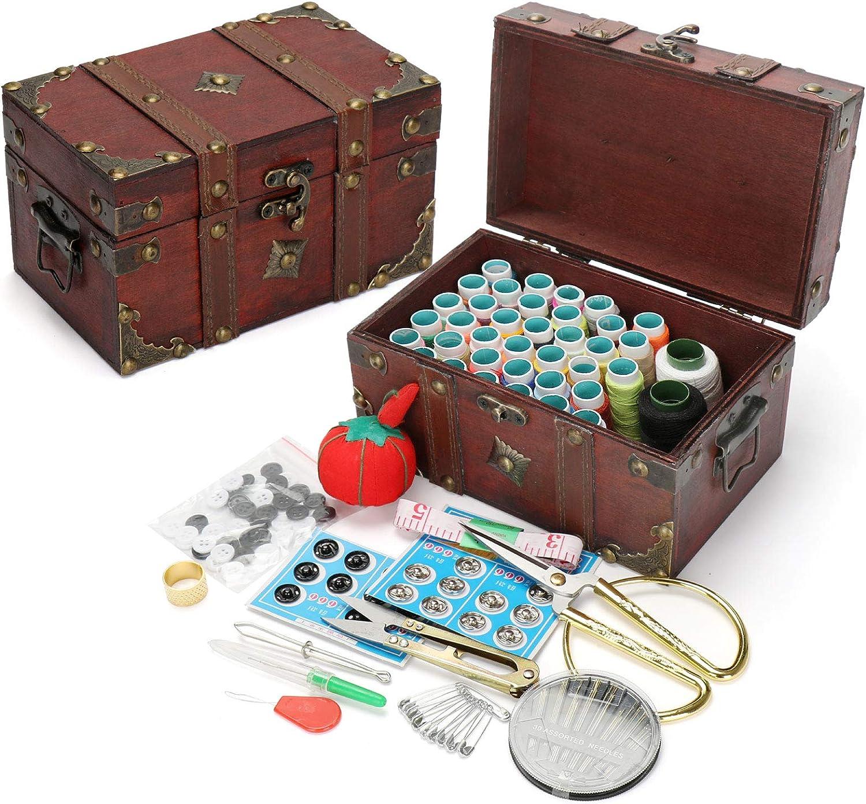 BrilliantDay Kit de Costura de Madera, Costura Kit de reparación, con Agujas de Coser/Pernos/Tema/Scissorsclips/Nociones, Principiante Cosa Kit Principiantes, Adultos#5