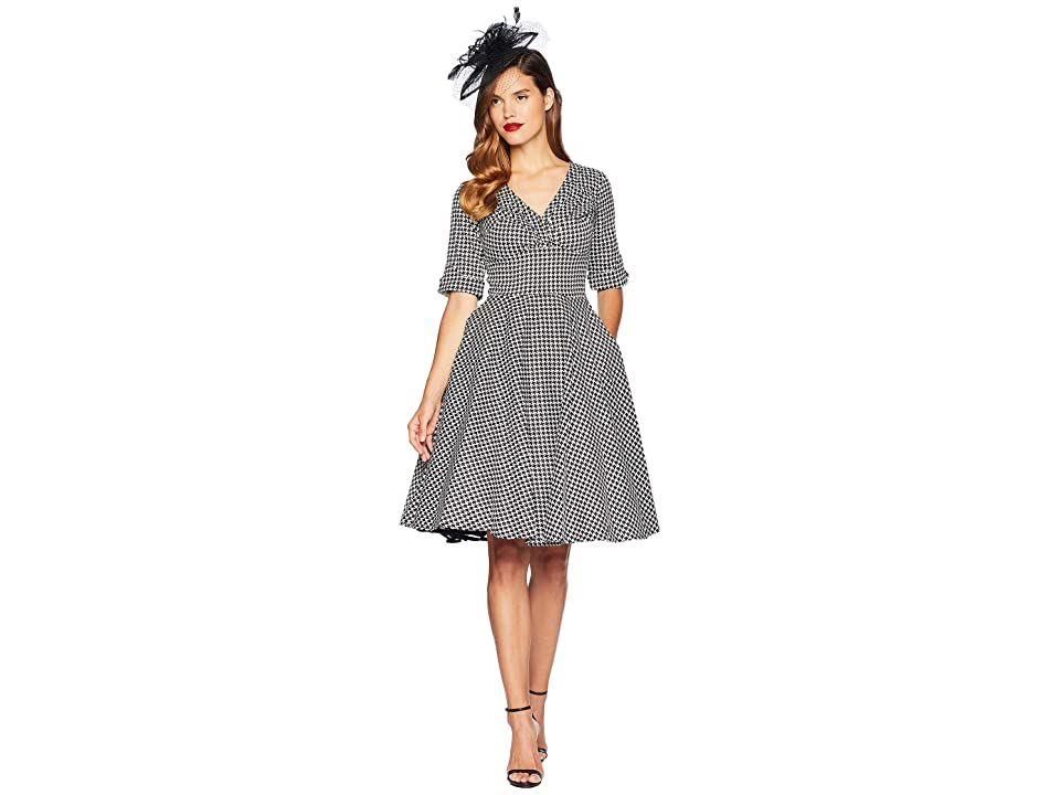 Unique Vintage 3/4 Sleeve Delores Swing Dress (Black/White Houndstooth) Women