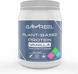GAVREEL Plant Based Protein Powder (Vanilla) - Non Dairy Pea & Organic Hemp Proteins Dietary Supplement - Build Muscle, Boost Strength & Energy - Zero Sugar, Low Calories & Carbohydrates - 16oz