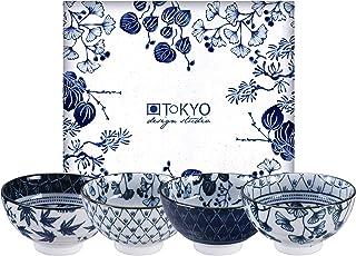 TOKYO design studio Flora Japonica 4-er Schalen-Set blau-wei