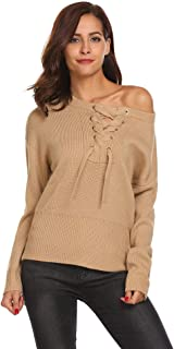 Jingjing1 Women's Off Shoulder Long Sleeve Casual Pullover Sweater Knit Jumper