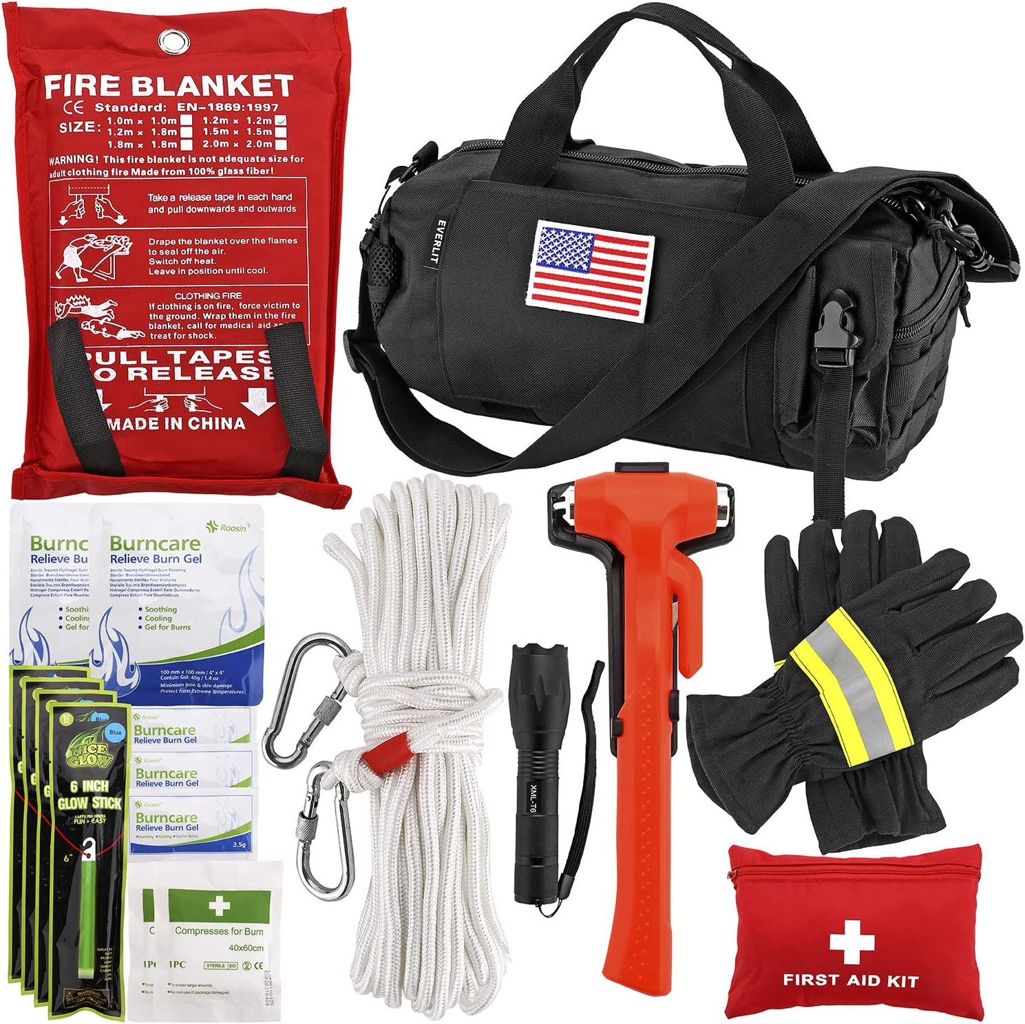 EVERLIT Survival Emergency Fire Safety Kit with Fire Blanket, Heat Resistant Gloves, Escape Rope, Glass Hammer, Glow Sticks, Flashlight, First Aid Supplies with Burn Injury Care Treatment and More: Sports & Outdoors