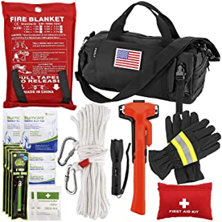 EVERLIT Survival Emergency Fire Safety Kit with Fire Blanket, Heat Resistant Gloves, Escape Rope, Glass Hammer, Glow Stick...