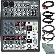 Behringer XENYX 1002-10 Channel Audio Mixer and Accessory Bundle w/ 5X Cables + Fibertique Cloth