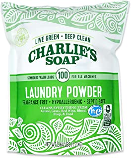 Charlie's Soap Laundry Powder (100 Loads, 1 Pack) Fragrance Free Hypoallergenic Deep Cleaning Laundry Powder – Biodegradable Laundry Detergent That is Both Safe and Effective
