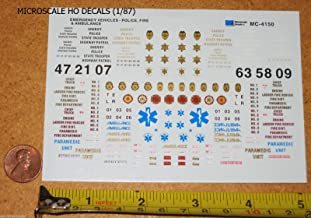 Microscale Police Fire Ambulance Emergency Decals 1/87 HO Scale