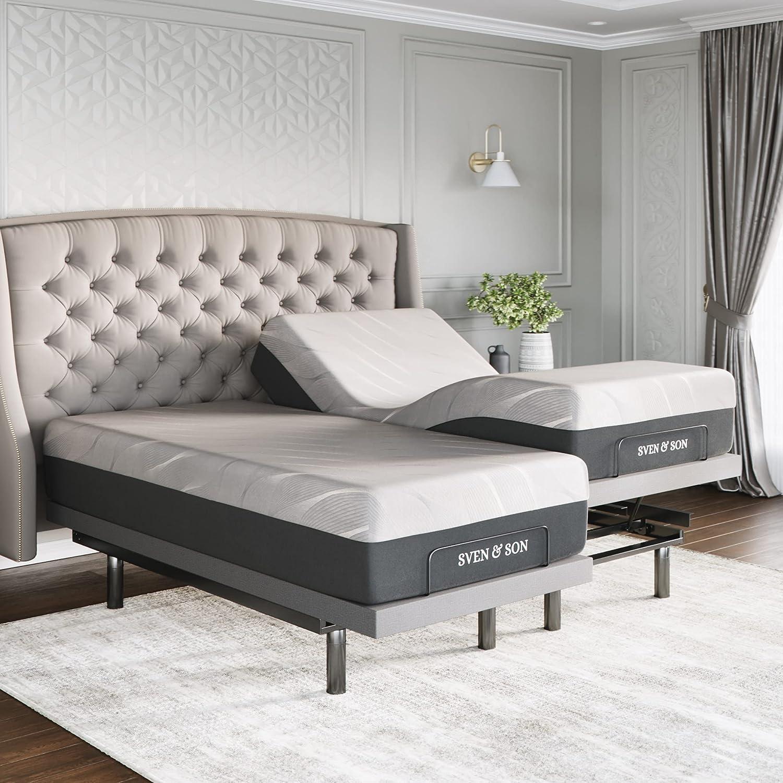 Sven Ranking TOP5 Son Split King Charlotte Mall Adjustable Indivi Base Frame Bed Platinum