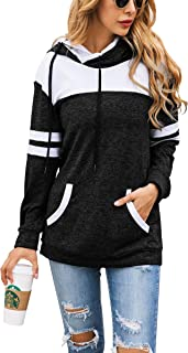 Womens Long Sleeve Fleece Lined Sweatershirt Patchwork Hoodie Pullover with Pockets