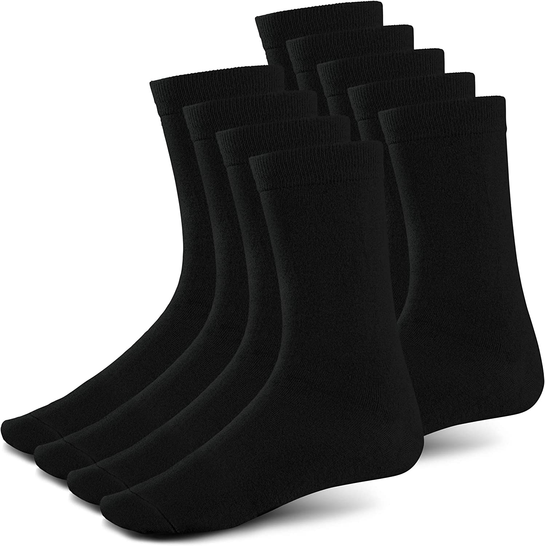 Black Ribbed Crew Size Bamboo Dress Socks (Sock Size 10-13, Shoe Size 6-12) Natural Fiber, Highly Durable, Odor-Free,