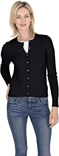 Cashmeren Crewneck Cardigan Sweater 100% Cashmere Button Front Long Sleeve Pullover for Women