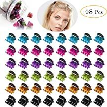 Mini Hair Claws For Women Girls Colorful Hair Clips Small Classics Mini Crown Claw Clip For Short Hair Pins Clamps Plastic Metal Jaw Clips Set 48 Pcs,Multicolored