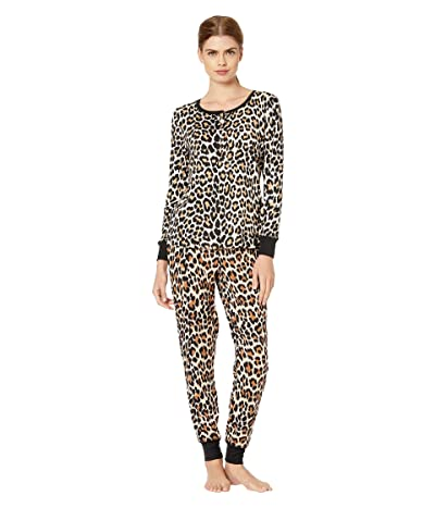 Kate Spade New York Brushed Jersey Jogger Long Pajama Set (Cheetah) Women