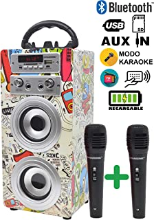 DYNASONIC - Altavoz Bluetooth Portatil Karaoke con 2 Micró
