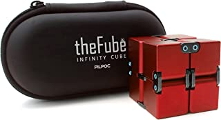 PILPOC theFube Fidget Cube Infinity Cube Desk Toy - Premium Quality Aluminum Infinite Magic Cube with Exclusive Case, Sturdy, Heavy, Relieve Stress and Anxiety, for ADD, ADHD, OCD (Red)