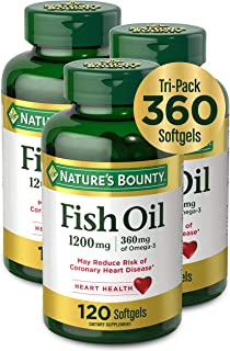 Fish Oil by Nature's Bounty, Dietary Supplement with 360mg Omega-3, Supports Heart Health, 1200mg, 120 Softgels (Pack of 3)