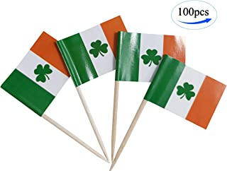Ireland shamrock flag ,Irish clover flags, 100 Pcs Cupcake Toppers Flag, Country Toothpick Flag,Small Mini Stick flags Picks Party Decoration Celebration Cocktail Food Bar Cake Flags