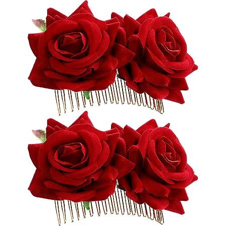 Bridal Women Rose Flower Hair Sticks Hairpin Floral Hair Clip Wedding Party YW