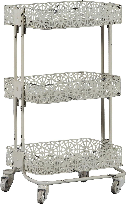 Linon AMME3TIERC1 3-Tier Cart Metal, 29.5  x 17  x 11 , Cream