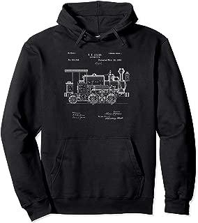 Vintage Patent Print 1886 Locomotive Steam Train Hoodie Pullover Hoodie