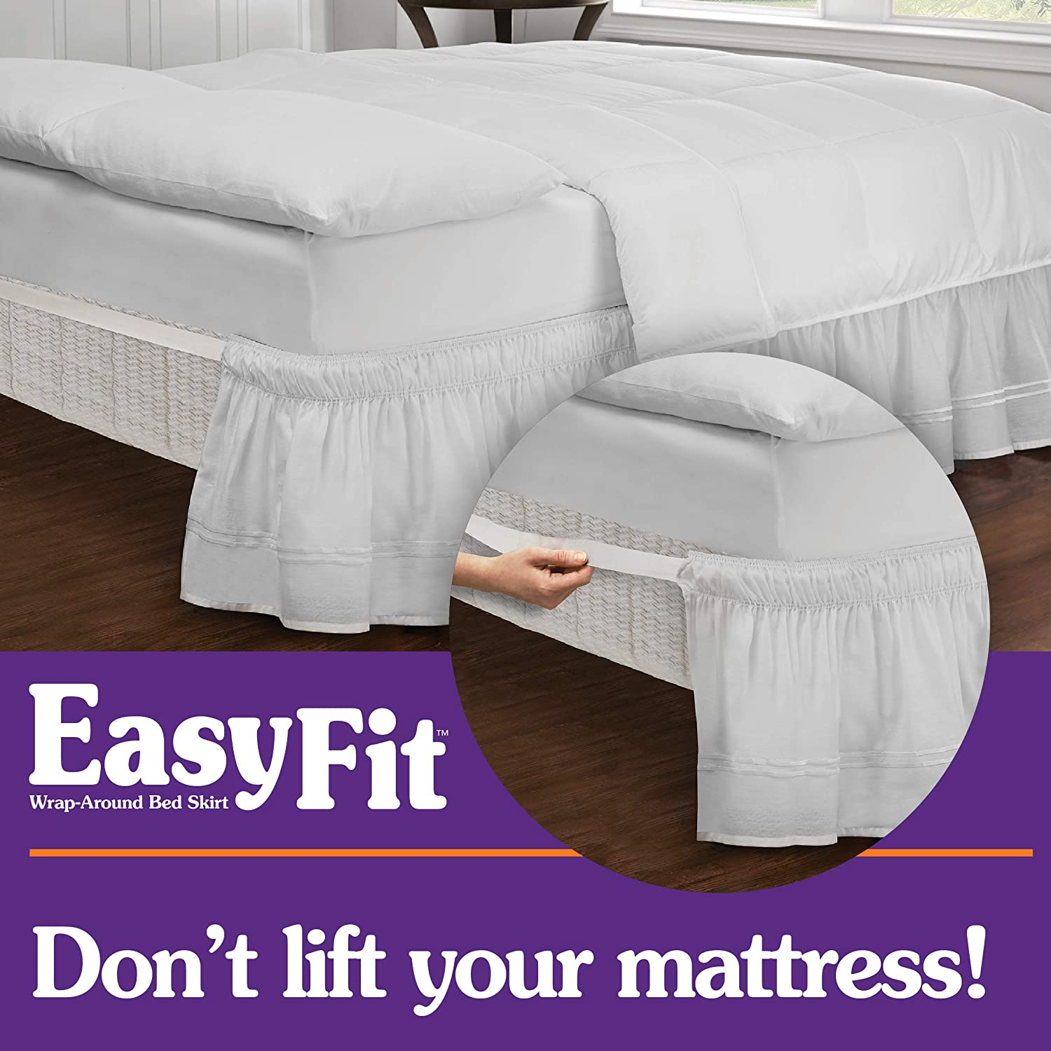 Queen//King Easy Fit Eyelet Wrap Around Easy On//Off Dust Ruffle 18-Inch Drop Bedskirt Ivory