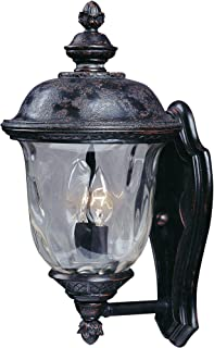 Maxim 3422WGOB Carriage House DC 2-Light Outdoor Wall Lantern, Oriental Bronze Finish, Water Glass Glass, CA Incandescent Incandescent Bulb , 100W Max., Dry Safety Rating, Standard Dimmable, Fabric Shade Material, 4600 Rated Lumens