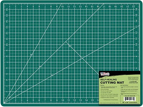 "US Art Supply 18"" x 24"" GREEN/BLACK Professional Self Healing 5-Ply Double Sided Durable Non-Slip PVC Cutting Mat Gre..."