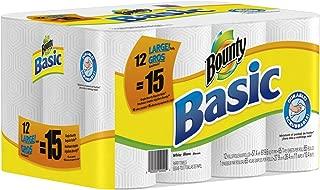 Bounty Basic Paper Towels 12 Large Rolls equal 15 Regular Rolls