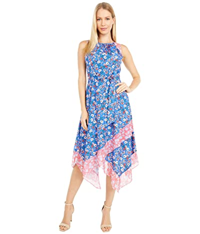 Vince Camuto Printed Crepe De Chine Midi Dress (Blue Multi) Women