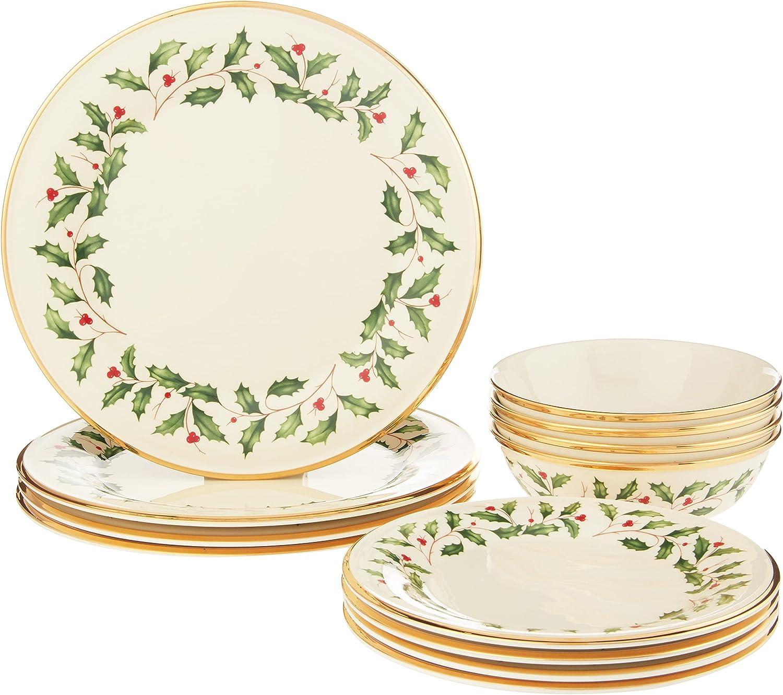 Lenox Holiday 12-Piece Plate Bowl Fashion Regular store 14.90 Red Set LB Green