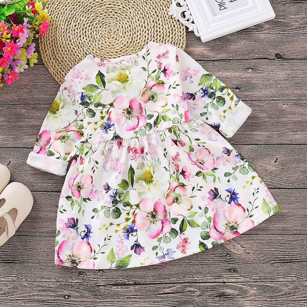 KONFA Toddler Kids Baby Girl Dress Feather Floral Print Dresses Little Princess Long Sleeve Skirt Fall Winter Outfits