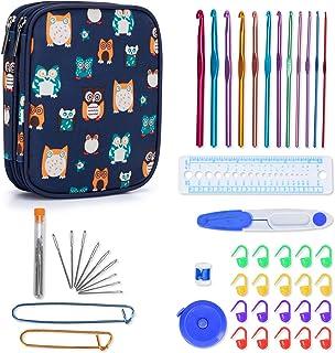 Teamoy Kit de crochets - 12psc Aiguilles en Aluminium, Accessoires complètes à tricoter, Étui avec fermeture éclair, Facil...