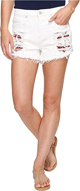 High-Rise Shorts with Embroidered Detail in Lightbox White