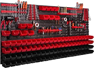 Systeemrek XXL, 172 x 78 cm, wandrek, stapelboxen, gereedschapswand, gereedschapshouder, opbergkast, kunststofdoos, rood, ...