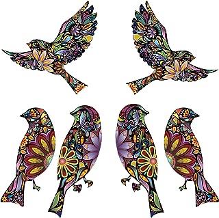 My Wonderful Walls Bird Stickers in Lovely Flower Pattern, Multicolored, Set of 6