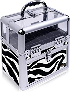 SHANY Studio Quality Clear Top Nail Polish/Nail Accessories Organizer Clear Top Makeup Case, Zebra
