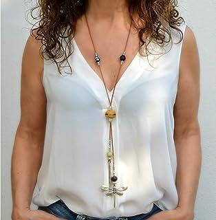 Collana donna libellula in zama argento e cuoio, gioiello moderno