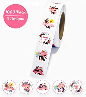 Thank You Stickers roll 1.5 inch � 5 Assorted Floral Designs� 1000 Pack of Round Adhesive Labels � Perfect for Baby Shower Thank You Cards, Shipping Envelopes and Small Businesses by Akshaya