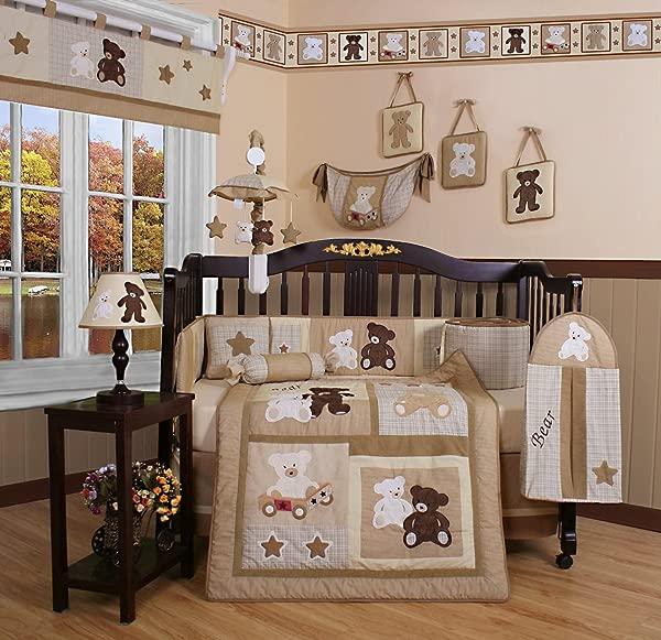 吉妮精品 13 件套婴儿床床上用品套装宝宝泰迪熊
