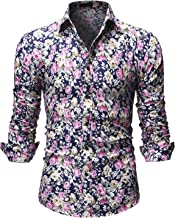 Men's Floral Shirts Print Casual Long Sleeve Slim Fit Button Down Shirt