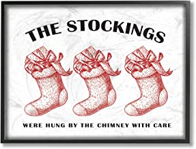 The Stupell Home Décor Collection Christmas The Stockings Vintage Icons Framed Giclee Wall Art, 11 x 14 Inches