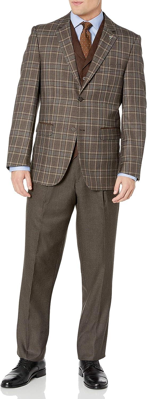 Stacy Adams Men's Bally 3 Piece Plaid Suit