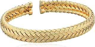 Women's 14K Yellow Gold Plated Sterling Silver Braided Bangle Bracelet