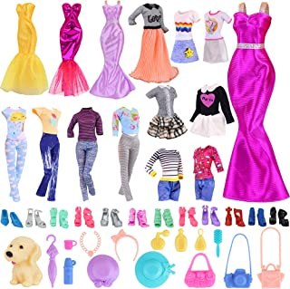 K.T. Fancy 35 PCS Doll Clothes and Accessories 5 Fashion Clothes Sets 5 Fashion Skirts 14 Outfit...